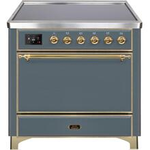 Majestic II 36 Inch Electric Freestanding Range in Blue Grey with Brass Trim