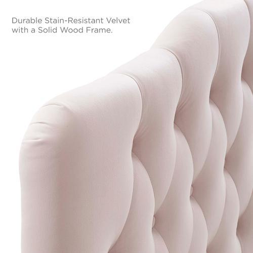 Annabel King Diamond Tufted Performance Velvet Headboard in Pink