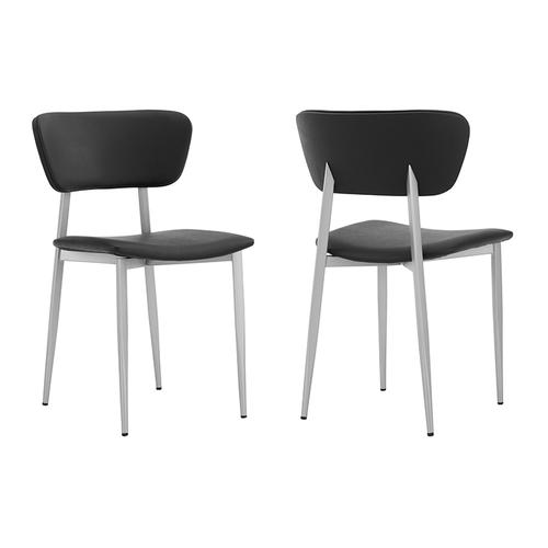 Tori Black Faux Leather and Metal Dining Room Chairs - Set of 2