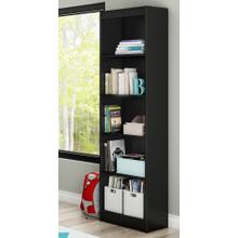5-Shelf Narrow Bookcase - Pure Black