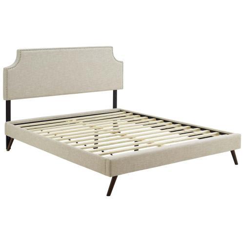 Corene Queen Fabric Platform Bed with Round Splayed Legs in Beige