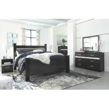 Product Image - King Poster Bed With Mirrored Dresser, Chest and 2 Nightstands