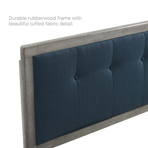 Draper Tufted Queen Fabric and Wood Headboard in Gray Azure