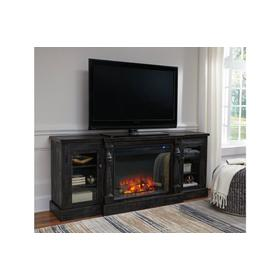 Mallacar XL LG TV Stand W/Fireplace Insert Black