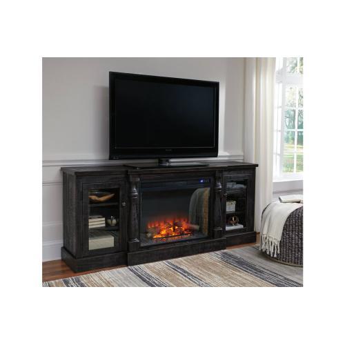 Mallacar XL LG TV Stand W/Fireplace Insert Black
