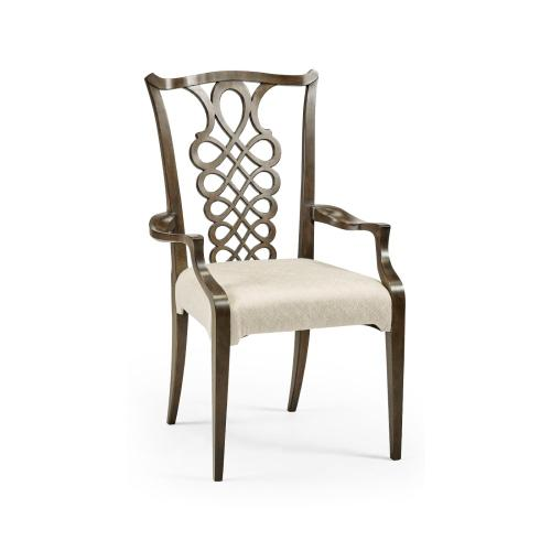 Buckingham Bleached Mahogany Dining Armchair with Ribbon Back, Upholstered in Skipper
