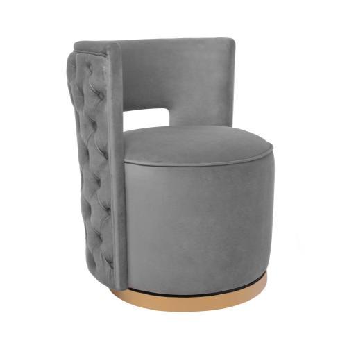 Mimosa Grey Velvet Swivel Chair