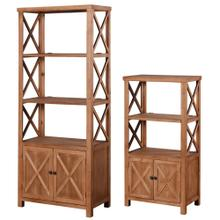 See Details - BARNWOOD BOOKCASES  Large 30in w. X 73in ht. X 16in d.  Small 25in w. X 47in ht. X 14in d.  Set o
