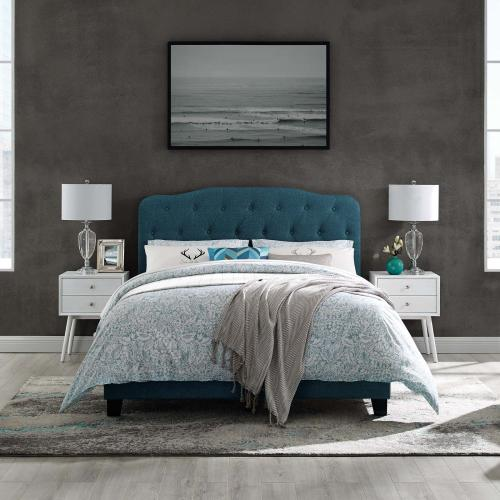 Amelia Queen Upholstered Fabric Bed in Azure