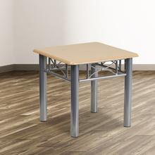 See Details - Natural Laminate End Table with Silver Steel Frame