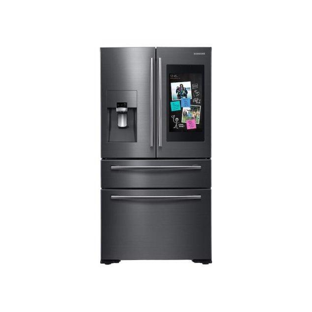 Samsung Appliances 22 cu. ft. Family Hub™ Counter Depth 4-Door Flex™ Refrigerator in Black Stainless Steel