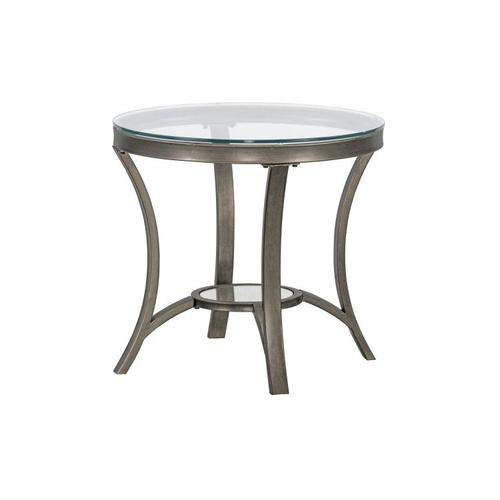 Cole Metal End Table with Glass Top, Silver