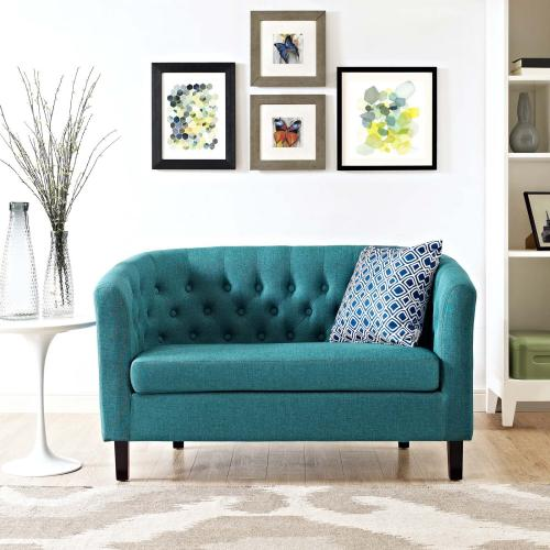 Prospect Upholstered Fabric Loveseat in Teal