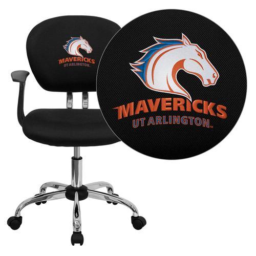 Texas at Arlington Mavericks Embroidered Black Mesh Task Chair with Arms and Chrome Base
