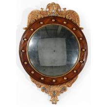Regency walnut & gilt round convex eglomis e mirror (Medium)