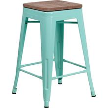 "24"" High Backless Mint Green Counter Height Stool with Square Wood Seat"