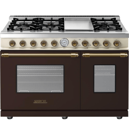 Range DECO 48'' Classic Brown dual color, Bronze 6 gas, griddle and 2 gas ovens
