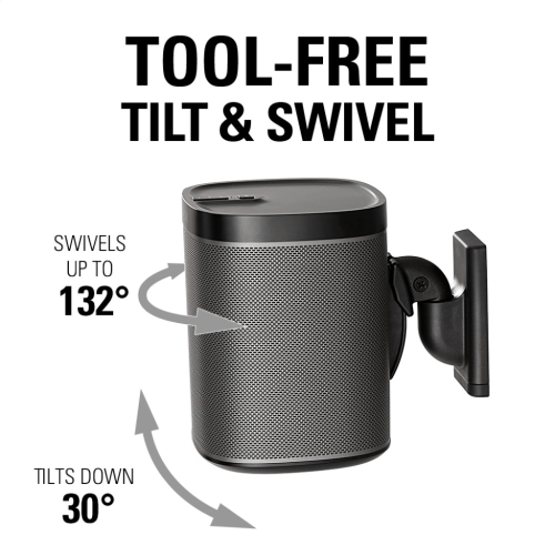 Black Wireless Speaker Swivel and Tilt Wall Mounts designed for Sonos ONE, Sonos One SL, Play:1, and Play:3