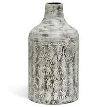 View Product - White Washed  14in x 8in Decorative Floral Metal Vase