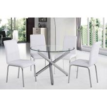 "Solara II 5pc Dining Set, 40"" Dia., Chrome/White"