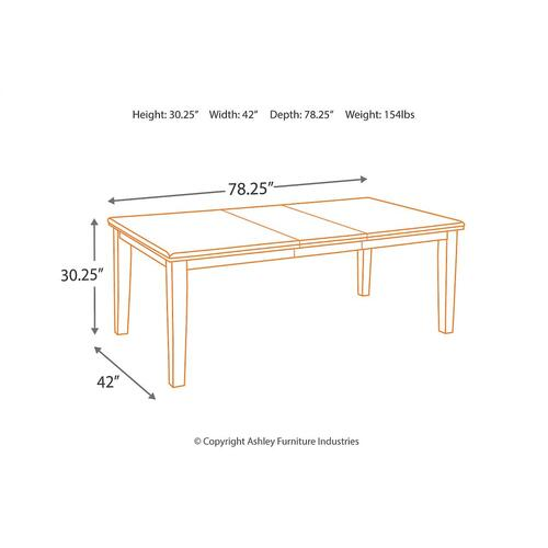 RECT Dining Room EXT Table w/ 4 Chairs and Bench