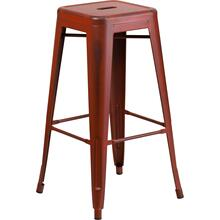 "Commercial Grade 30"" High Backless Distressed Kelly Red Metal Indoor-Outdoor Barstool"