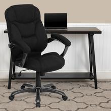 View Product - High Back Black Microfiber Contemporary Executive Swivel Ergonomic Office Chair with Arms