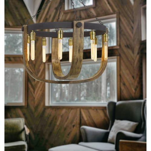 60W X 8 Apulia Metal/Wood Chandelier (Edison Bulbs Are Not included)