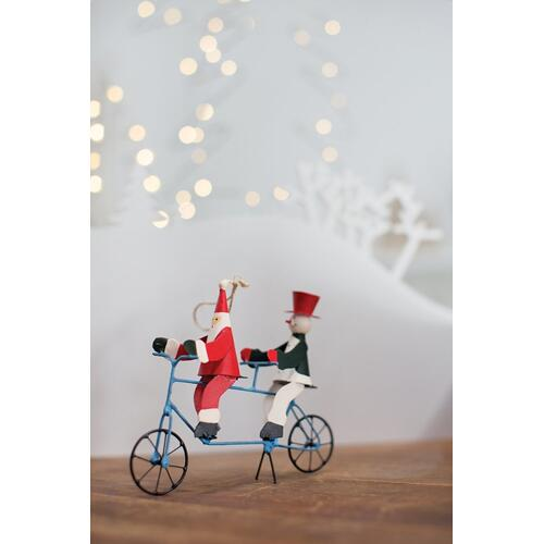 "6.25""x 2""x 5"" Light-Blue Bicycle Santa Ornament (Tandem Option)"