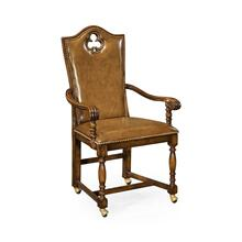 "High Back Playing Card ""Club"" Arm Chair with Medium Antique Chestnut Leather"