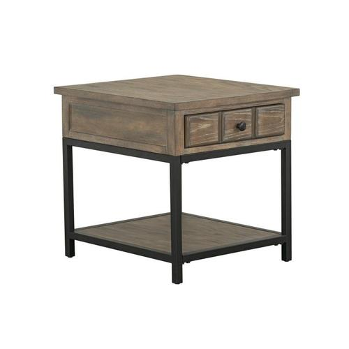 Wayne End Table with Metal Base, Brown