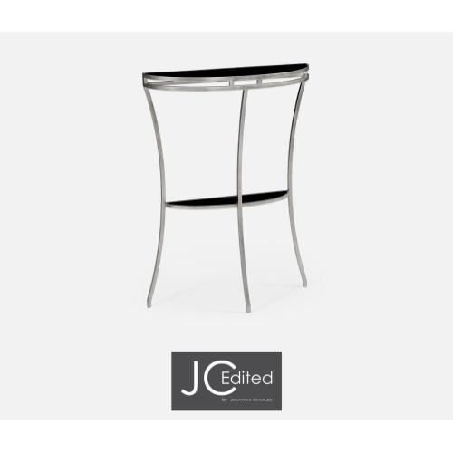 Silver iron demilune console table
