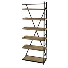 Farrar II 33L x 90.2W x 16.1H Tray Style Brown Wood and Black Metal Five Shelf Shelving Unit