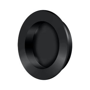 """Flush Pull , Round, HD, 2-3/8"""", Solid Brass - Paint Black"""