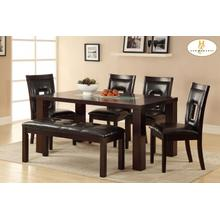 See Details - 5PC SET (Dining Table with Crackle Glass Insert and 4 Chairs)