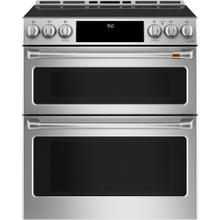"""View Product - Café ™ 30"""" Slide-In Front Control Induction and Convection Double Oven Range Stainless Steel"""