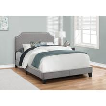 See Details - BED - FULL SIZE / GREY LINEN WITH CHROME TRIM