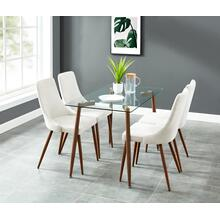 Abbot/Cora 5pc Dining Set, Walnut/Beige