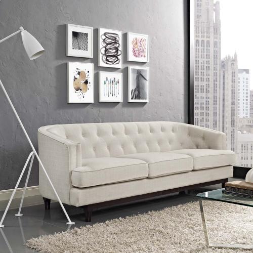 Coast Upholstered Fabric Sofa in Beige