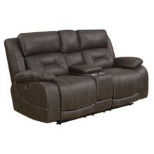 Aria Pwr-Pwr Loveseat w/Console, Saddle Brown