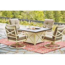 Fire Pit Table and 4 Swivel Rocker Chairs