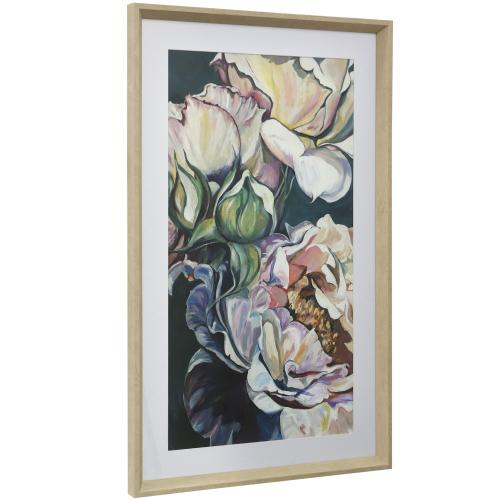 Style Craft - MAGNOLIA BLOOMS  16in w X 41in ht  Framed Print Under Glass with Matte