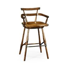 Dark Oak Arm Chair Bar Stool with A Studded Dark Antique Leather Seat