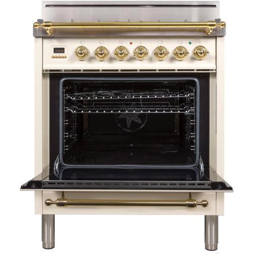 Nostalgie 30 Inch Gas Liquid Propane Freestanding Range in Antique White with Brass Trim