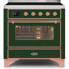 Majestic II 36 Inch Electric Freestanding Range in Emerald Green with Copper Trim