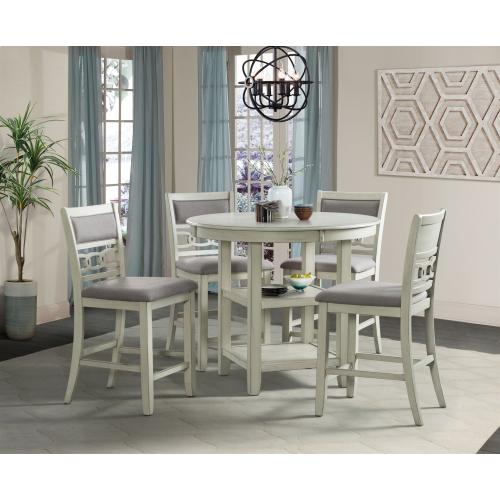 Amherst White Counter Set - Counter Table and 4 Barstools