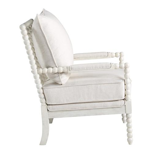 Kaylee Spindle Chair In Linen Fabric With White Frame