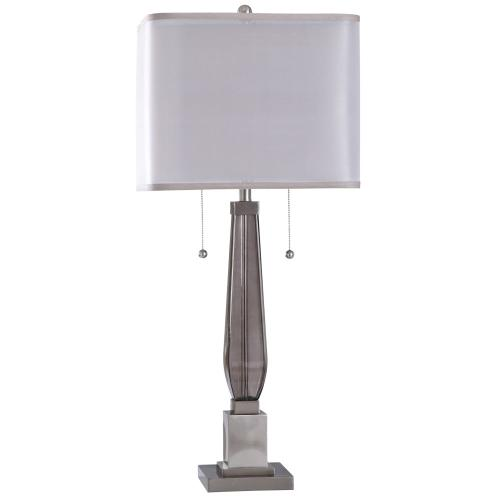 Ottery  37in Jane Seymour Branded Metal & Glass Table Lamp  60 Watts X 2  Twin Pull On-Off Swtche
