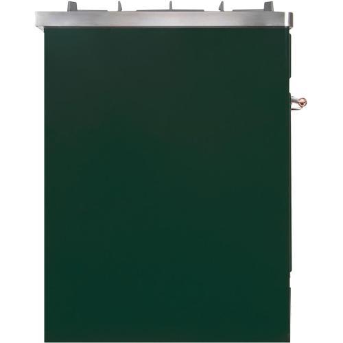 Majestic II 30 Inch Dual Fuel Liquid Propane Freestanding Range in Emerald Green with Copper Trim