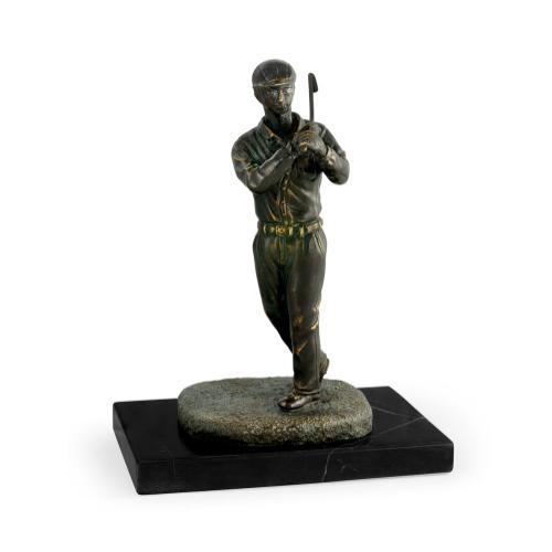 Pair of Dark Antique Bronze Golfer Bookends